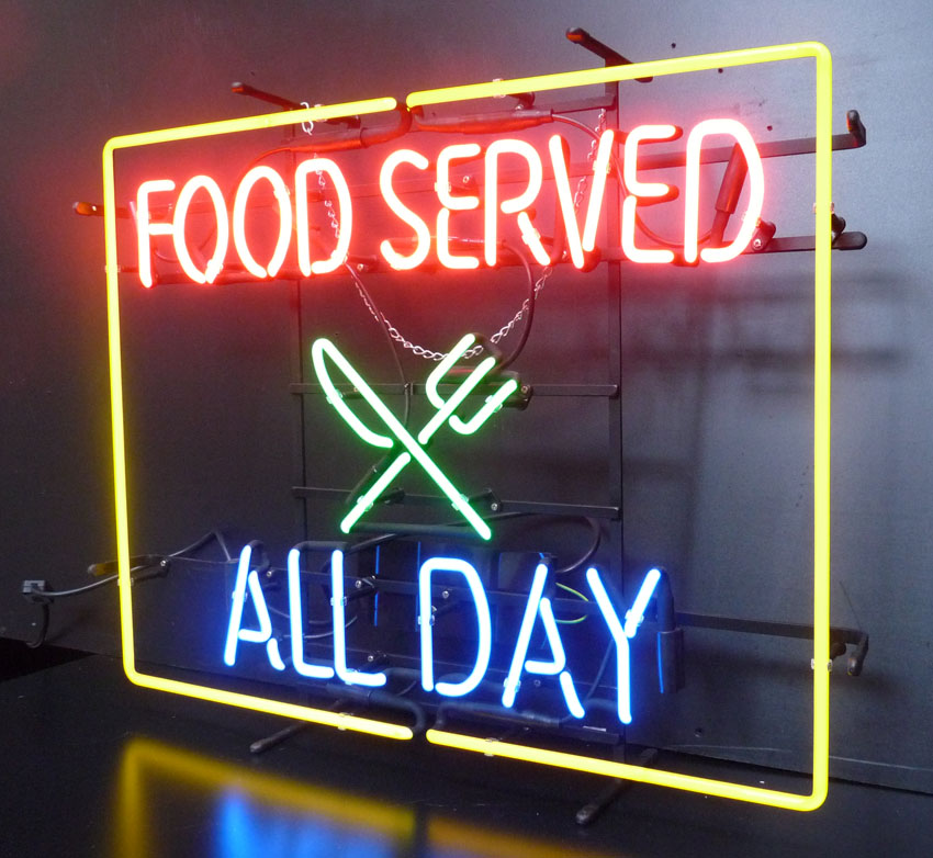 Food Served All Day Neon Sign
